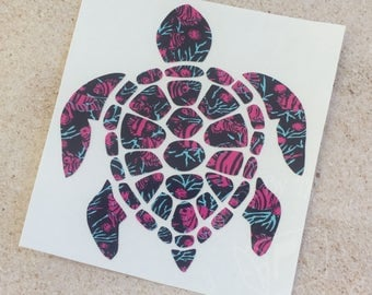 Lilly Pulitzer Inspired Sea Turtle Decal | Yeti Decal | Lilly Car Decal | Rtic Decal | Turtle Decal | Car Decal | Beach Decal | Sea Decal