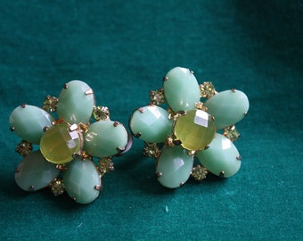 Green Glass Cluster Clip-On Earrings 1960s