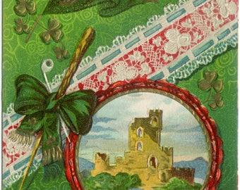 Blarney Castle St. Patrick's Day Souvenir Embossed Antique POSTCARD