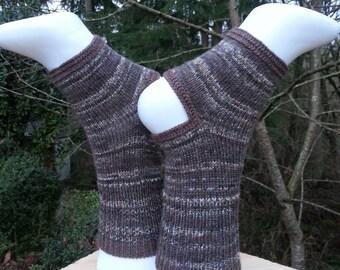 Brown Knitted Yoga socks without heel. Pilates socks.  socks. Toeless socks. Pedicure Socks. Leg warmers. Multicolored socks. Gift for her
