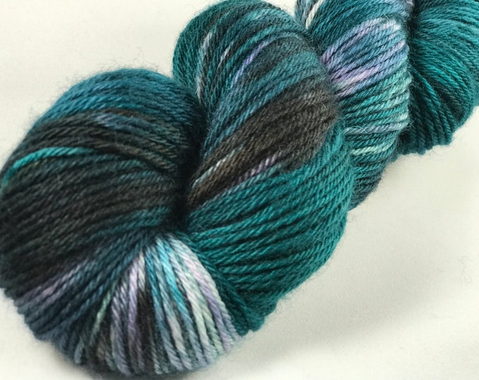 "Hand Dyed DK Yarn, 100% Superwash British Bluefaced Leicester Lustre Wool ""Seahawk Pride"""