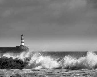 Panoramic black and white photograph of Seaham Lighthouse and Pier