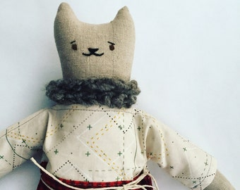 """10"""" Kitty doll, handmade with all natural materials. Waldorf inspired dolls for creative play."""