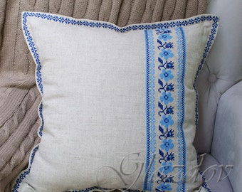 Decorative Pillow Cover, Natural linen pillow cower, decorative pillow, throw pillow cover, ukrainian embroidery