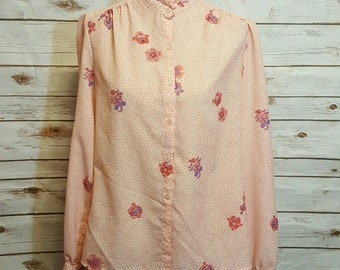 Vintage, 60's Polka dot paisley pink blouse, Medium/Large