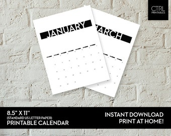Printable Calendar 2017 Modern Minimalist - PDF DIY Wall Calendar Pages, US Letter Desk Calendar Instant Download Print At Home Office Decor