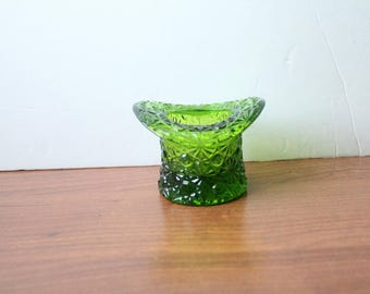 Vintage Green Glass Hat Toothpick Holder