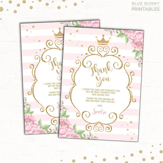 Princess Thank You Card Pink Gold Party Princess Birthday Thank