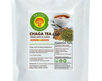 Organic Chaga and Organic Yerba Mate with Cocoa Peels Tea Powder: Perfect Pick-Me-Up. 4 oz Micronized Powder Makes 120 Amazing Cups!