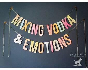 "Drake Lyrics Banner ""Mixing Vodka & Emotions"" Letter Garland | Bachelorette Party Decorations | Photobooth Backdrop | Rap Hip Hop Lyrics"