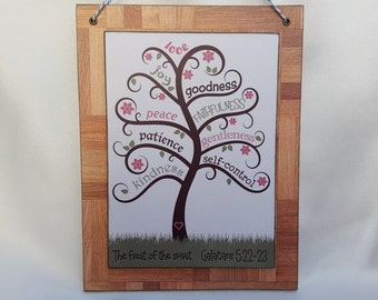 Bible verse art, The fruit of the Spirit, Wood sign, Wall hanging, Galatians 5:22-23, Colour print on wood decoupage
