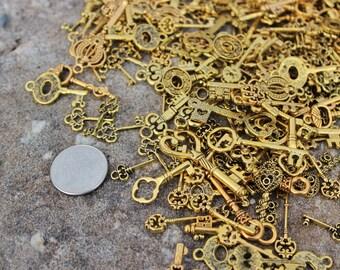 Gold Skeleton Keys, Skeleton Key Charms, Key Charms, Wedding Favor Tags, Wedding Decorations, Bulk Skeleton Keys, Assorted Skeleton Keys