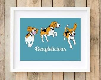 Beagles wall art, beagles illustration, print beagles gift ideas, blue giclee print, gift for beagle lovers, tri-colour beagle wall decor