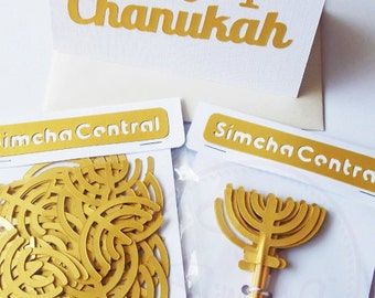 Chanukah Gift, Chanukah Present, Chanukah Card, Chanukah Confetti, Chanukah Cupcake Toppers, Chanukah Decorations, Menorah, Jewish Holiday