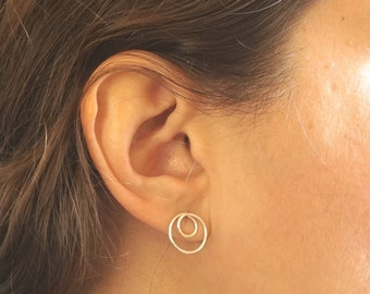 Double Open Circle Stud Earring Solid Sterling Silver Gold Filled Rose Gold Filled Earrings jewelry minimalist geometric 053