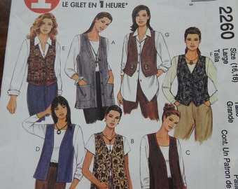 McCalls 2260 Women's Unlined Vests Sewing Pattern