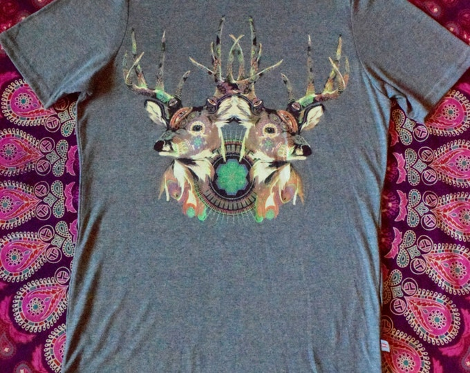 Grey Deer Peyote Heart Mandala Tee