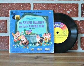 1967 The seven dwarfs and their diamond mine book, Vinyl book, kids audio book, Disney book, Snow white book, Disney 1960, Kids gift