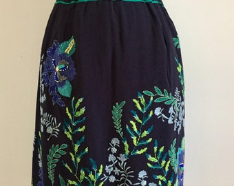 Navy embroidered skirt