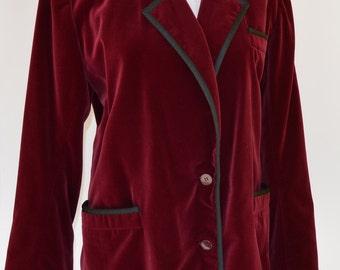 1980 YVES SAIN LAURENT velvet burgundy blazer / 80s