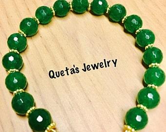 Green genuine Jade Gemstone beads Bracelet!