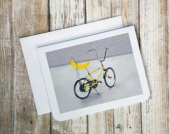 Funny Card, Bicycle Card, Banana Card, Banana Seat Bicycle, Greeting Card, Any day Card, Birthday Card, Fruit Card, Blank Card, Seventies