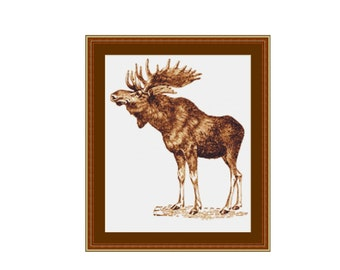 2 for 1 SALE! - Moose Drawing Cross Stitch Pattern, Instant Download Cross Stitch Chart, Needlework Pattern   (P-441)
