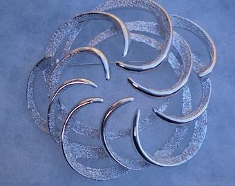 Silver Stamped Vintage Pin