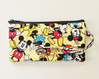 Mickey and Minnie Mouse Wristlet // Ready To Ship // Clutch // Disney Wallet