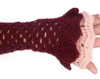 Gloves mitten wool, handmade, romantic crochet, pink and bordeux mittens, mitten original, elegant, romantic