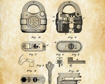 Padlock Patent Print 1877 - Wall Decor, Bizarre Art, Bizarre Decor, Vintage Tools, Vintage Padlock, Antique Lock