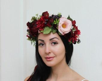 Blush pink marsala greenery hair wreath Flower crown Boho floral crown Wedding halo Bridal headband Flower headpiece Woodland wedding