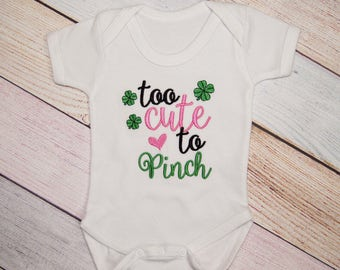 Too Cute to Pinch Bodysuit - Kids Shirt - St Patrick's Day Shirt - Girls St. Patrick's Day Shirt - St. Patty's Day Shirt - Shamrock Shirt