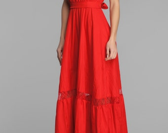Red open shoulder maxi lace dress