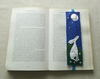 Moonlight Hare felt BOOKMARK - Handmade, can be made to order