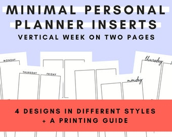 Printable Minimal Personal Planner Inserts - Vertical Week on Two Pages