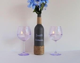 Beautiful Moments Wine Bottle Set, Twine Wrapped, Wine Bottle Decor, Country Decor, Rustic Decor, Rustic Wine Bottle, Gray Wine Bottle Set