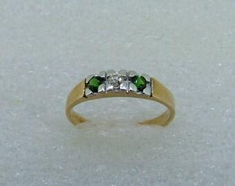 Green Tourmaline and Diamond band-Tourmaline diamond and yellow gold ring-antique style Tourmaline band