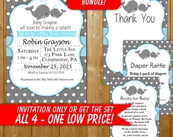 Whale Baby Shower Invitation, Boy Baby Shower Invitation, Blue and Gray Set, Diaper Raffle, Books for Baby, Thank You Card, Printables