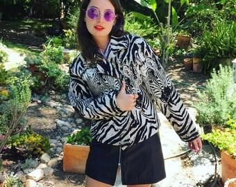 Vintage 80s Jungle Fever Zebra Jacket