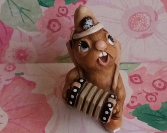 Vintage 1960s Pendelfin Rabbit Ornament Squeezy - Handpainted Stonecraft made in Burnley England - Squeeze Box byJean Walmsley Heap