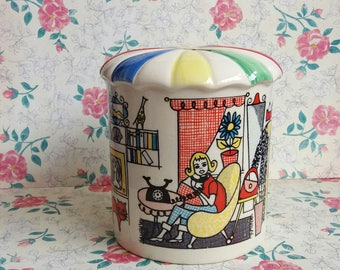 Vintage 1950s Rainbow Money Box or Piggy Bank by Dendan Ware England - Women Travelling Colourful Apartment