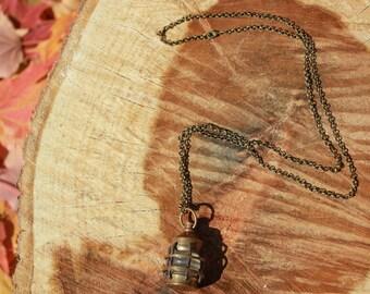Antique Brass Bronze Vintage Lantern Necklace