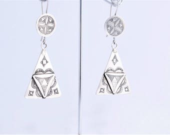 Earrings silver tuareg, engraved ethnic Berber tuareg ethnic boho style