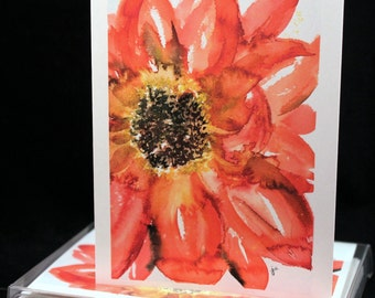 Red floral Original Watercolor PRINT Note Card Set, Watercolor Cards, Flower Cards, Watercolor Cards, Flowers,