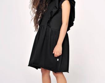 Black ruffle dress - black dress - black summer dress - whirl dress - monochrome dress - unique dress - spring dress - birthday dress