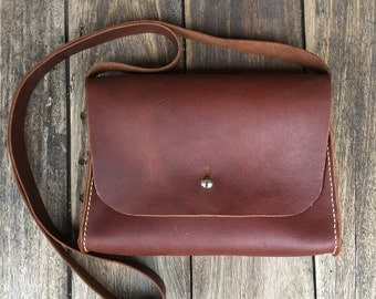Small Leather Satchel/Bag - hand stitched, hand cut, handmade