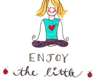 Enjoy the Little Things note card, greeting card, blank inside, note card for gift, card for friend, yoga card