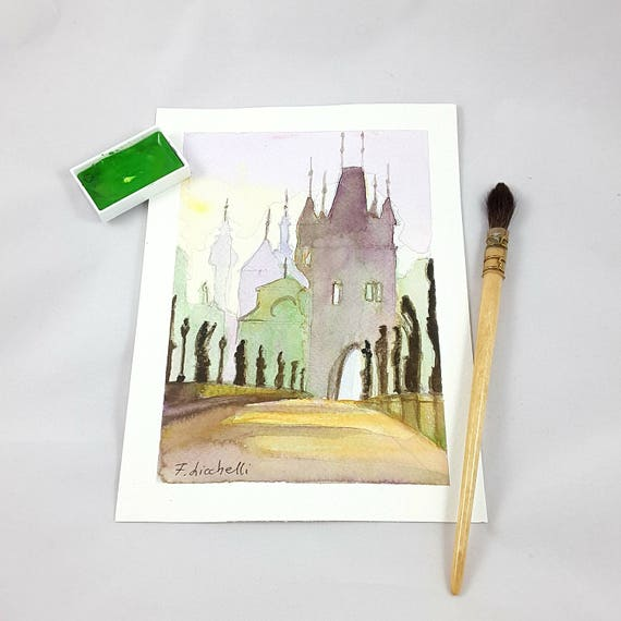 Watercolor, medieval landscape, glimpse on town, bridge with statues and caste, gift idea for anniversary, traditional home decoration.