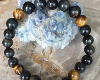 Tiger's Eye and Hawk's Eye Medicine Wheel Stretch Bracelet! Premium Beads Healing Bracelet! Natural Healing Jewelry Meditation